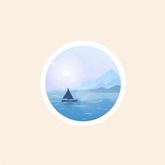 Design de logotipo do mar azul