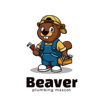 Design de logotipo do mascote beaver plumbing