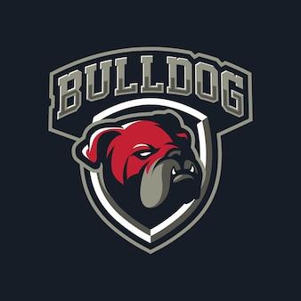 Design de logotipo do mascote bulldog para esporte