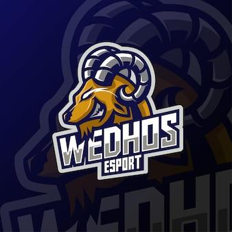 Design de logotipo do mascote cabeça de cabra irritada e esport