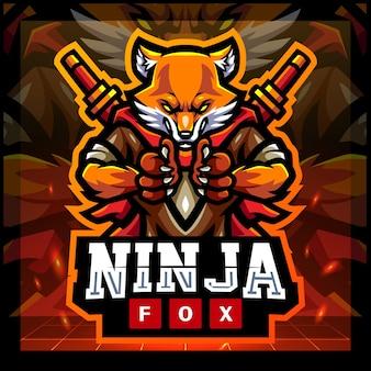 Design de logotipo do mascote da raposa ninja e esportes