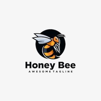 Design de logotipo do mascote de abelha de mel
