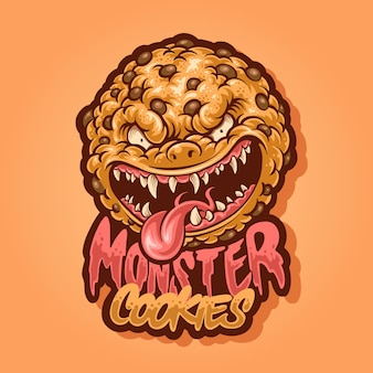 Design de logotipo do mascote de cookies moster
