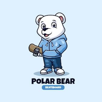 Design de logotipo do mascote de criativos para skate de urso polar