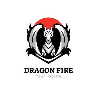 Design de logotipo do mascote de fogo do dragão