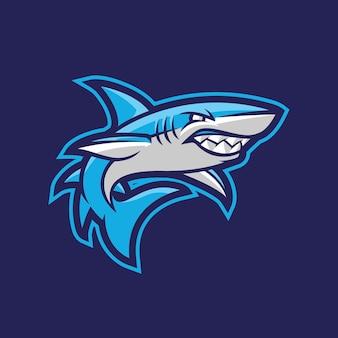 Design de logotipo do mascote de tubarões