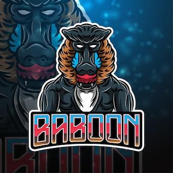 Design de logotipo do mascote do babuíno Vetor Premium
