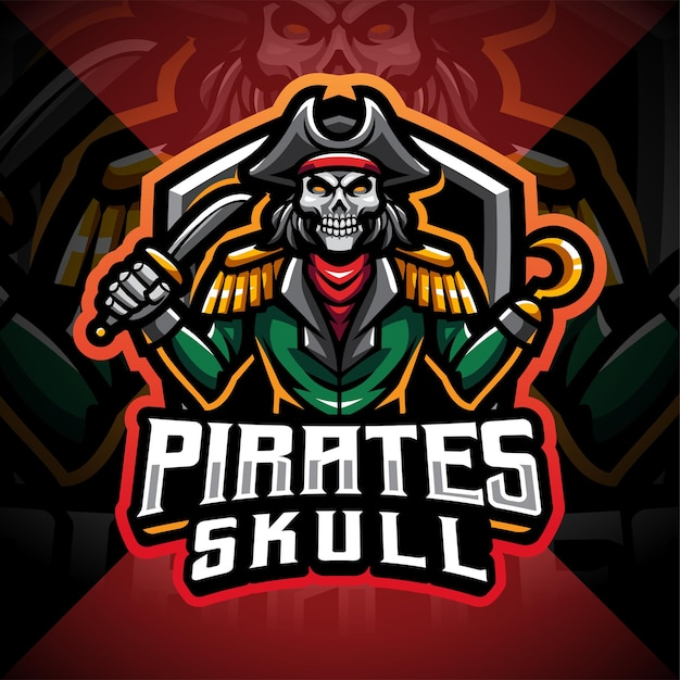 Design de logotipo do mascote do crânio de piratas