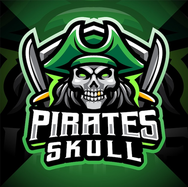 Design de logotipo do mascote do crânio dos piratas