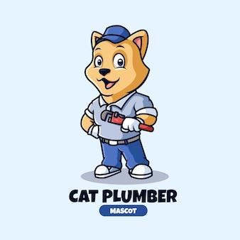 Design de logotipo do mascote do encanamento de gato criativo