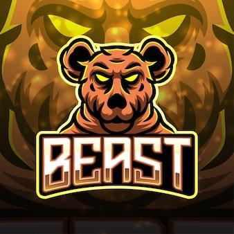 Design de logotipo do mascote do esporte besta