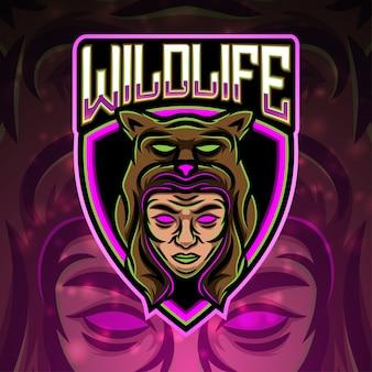 Design de logotipo do mascote do esporte da vida selvagem