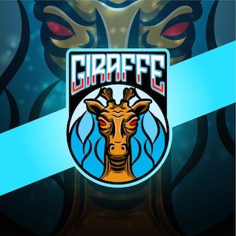 Design de logotipo do mascote do esporte de girafa