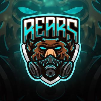 Design de logotipo do mascote do esporte de ursos