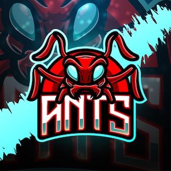 Design de logotipo do mascote do esporte formigas