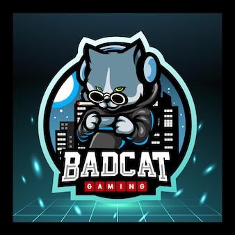 Design de logotipo do mascote do gato e esportes
