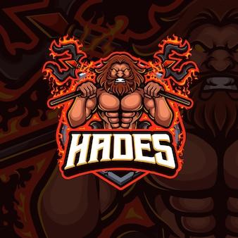 Design de logotipo do mascote do hades esport gaming