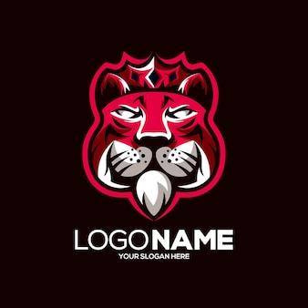 Design de logotipo do mascote do rei tigre