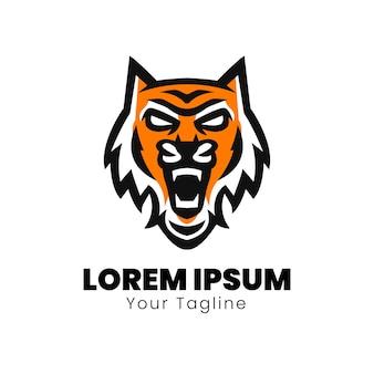 Design de logotipo do mascote do tigre selvagem