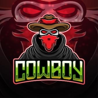 Design de logotipo do mascote esporte caubói