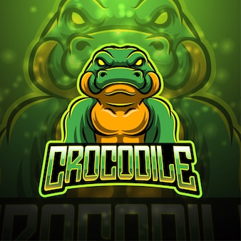 Design de logotipo do mascote esporte crocodilo