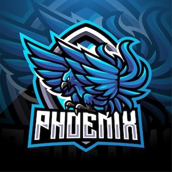 Design de logotipo do mascote esporte fênix azul