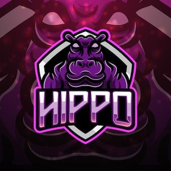 Design de logotipo do mascote esporte hipopótamo