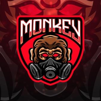 Design de logotipo do mascote esporte macaco