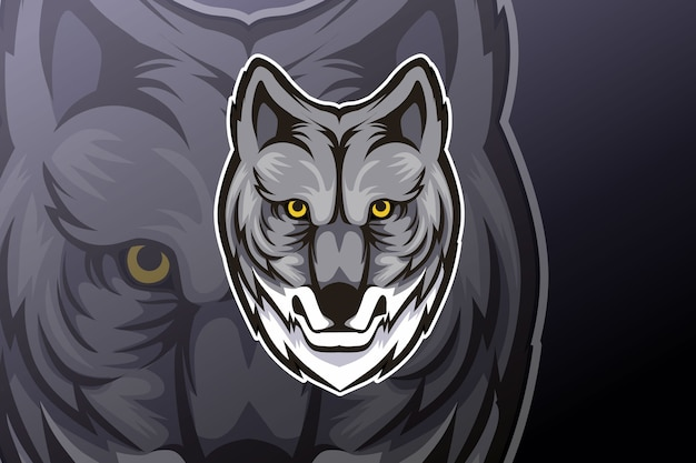 Design de logotipo do mascote esportivo editável wolf