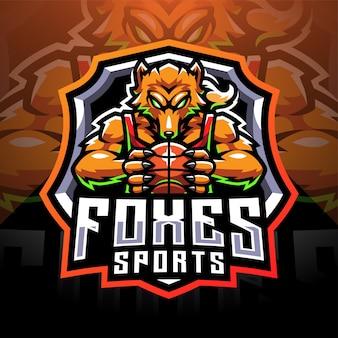 Design de logotipo do mascote esportivo foxes