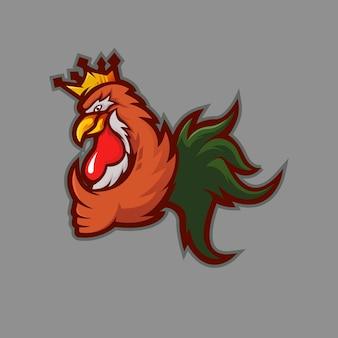 Design de logotipo do mascote king rooster com conceito de ilustração moderna