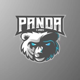 Design de logotipo do mascote panda com estilo de ilustração moderna