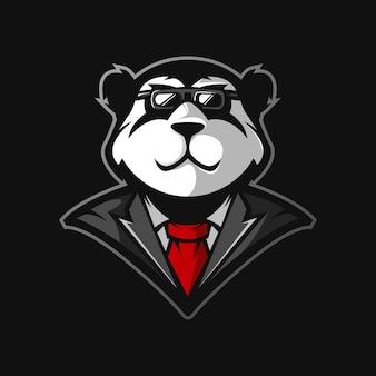 Design de logotipo do mascote panda. panda em estilo monge para jogos