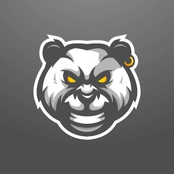 Design de logotipo do mascote panda. panda zangado com brinco