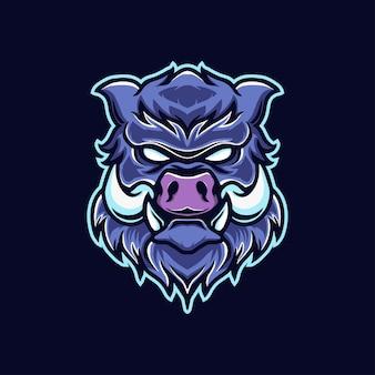 Design de logotipo do mascote porco zangado