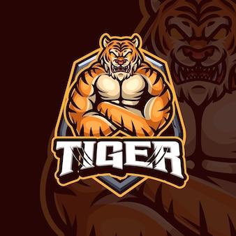 Design de logotipo do mascote tigre esport