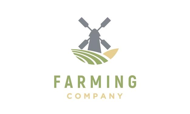 Design de logotipo do moinho de vento e fazenda