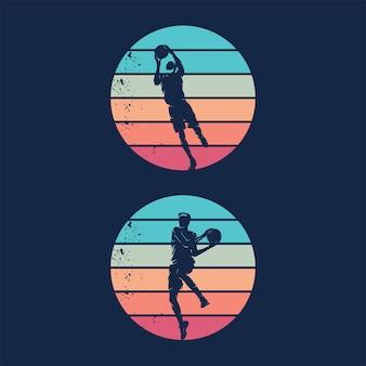 Design de logotipo do movimento de esportes de basquete