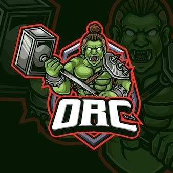 Design de logotipo do orc mascote esport gaming