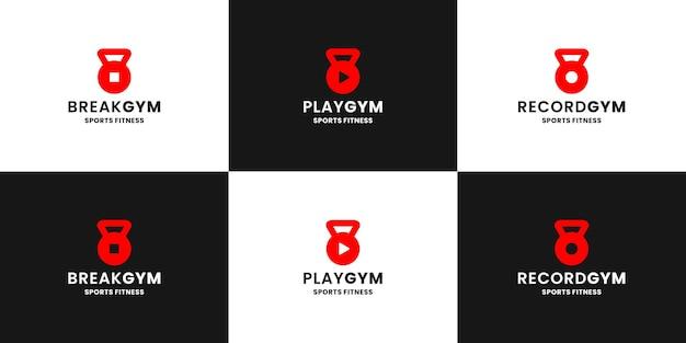 Design de logotipo do pacote de ginástica. ícone de pausa, jogo e registro combinados com o esporte de ginásio de sino de chaleira