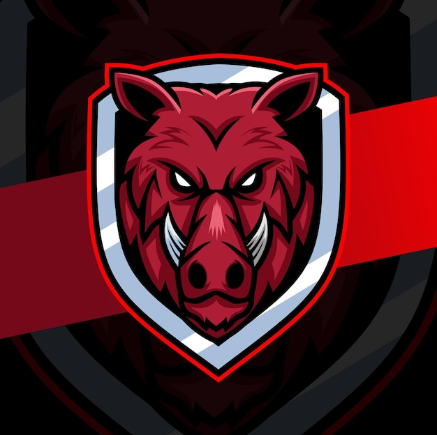 Design de logotipo do personagem mascote cabeça de porco de javali com emblema