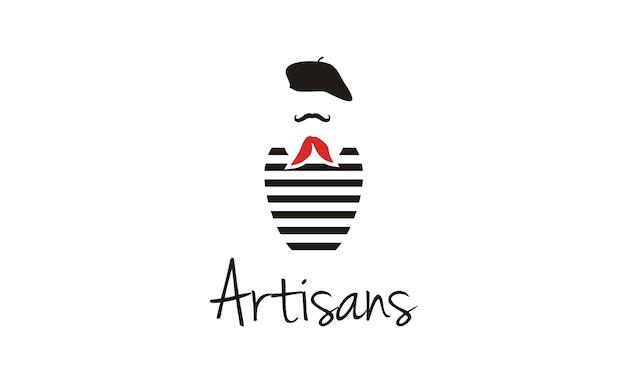 Design de logotipo do pintor de frança