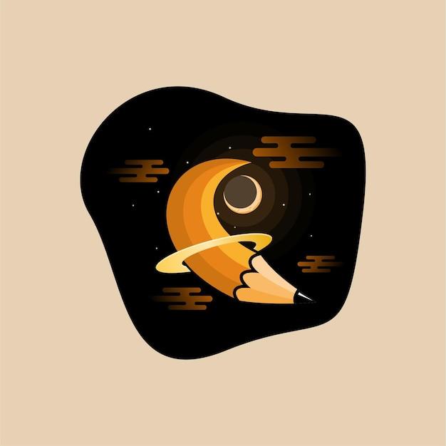 Design de logotipo do planeta a lápis
