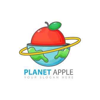 Design de logotipo do planeta apple
