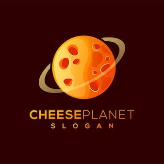 Design de logotipo do planeta queijo