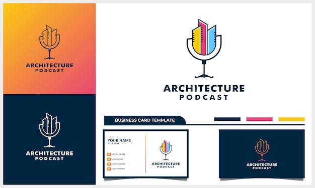 Design de logotipo do podcast com conceito de construção de arte de linha e modelo de cartão de visita