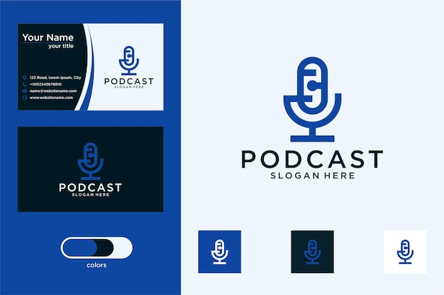 Design de logotipo do podcast e cartão de visita