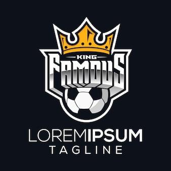 Design de logotipo do rei famoso futebol Vetor Premium