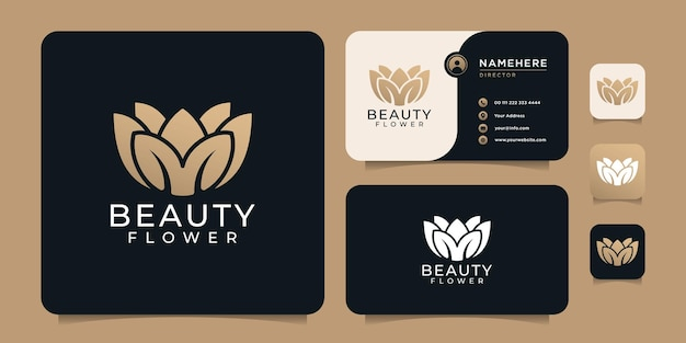 Design de logotipo do salão de beleza de lótus de flores