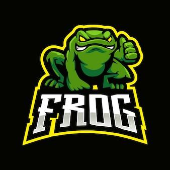 Design de logotipo do sapo mascote. toad faz sinal de positivo para o time de e-sport